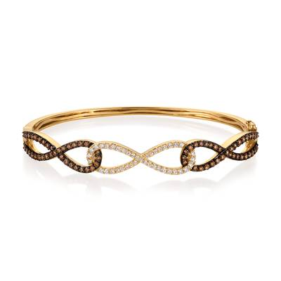 14K Honey Gold™ Bangle with Chocolate Diamonds® 1  3/8 cts., Vanilla Diamonds® 3/8 cts. | YQOK 15