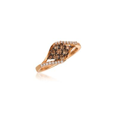 14K Strawberry Gold® Ring with Chocolate Diamonds® 1/3 cts., Vanilla Diamonds® 1/10 cts. | YQOL 15