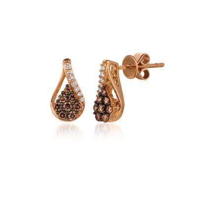 14K Strawberry Gold® Earrings with Chocolate Diamonds® 1/4 cts., Vanilla Diamonds® 1/20 cts. | YQOL 16