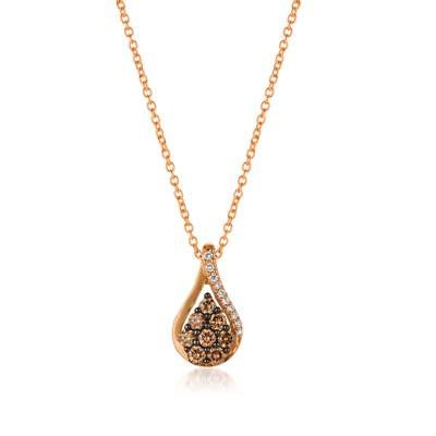 14K Strawberry Gold® Pendant with Chocolate Diamonds® 1/3 cts., Vanilla Diamonds® 1/20 cts. | YQOL 17