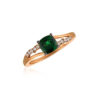 14K Strawberry Gold® Pistachio Diopside® 7/8 cts. Ring with Vanilla Diamonds® 1/10 cts. | YQON 646