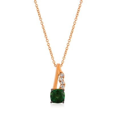 14K Strawberry Gold® Pistachio Diopside® 7/8 cts. Pendant with Vanilla Diamonds® 1/20 cts. | YQON 647
