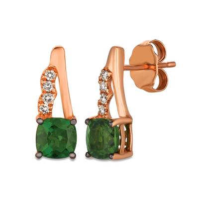 14K Strawberry Gold® Pistachio Diopside® 7/8 cts. Earrings with Vanilla Diamonds® 1/15 cts. | YQON 648