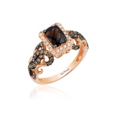 14K Strawberry Gold® Chocolate Quartz® 7/8 cts. Ring with Chocolate Diamonds® 1/2 cts., Vanilla Diamonds® 1/6 cts. | YQPB 42