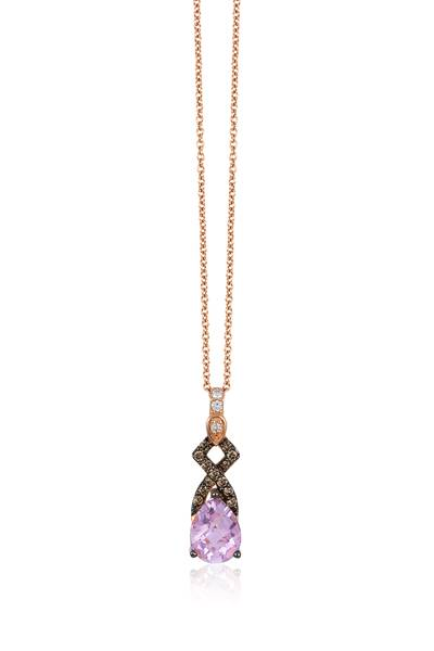 14K Strawberry Gold® Cotton Candy Amethyst® 7/8 cts. Pendant with Chocolate Diamonds® 1/10 cts., Vanilla Diamonds®  cts. | YQPQ 3