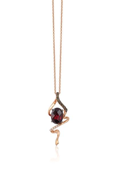 14K Strawberry Gold® Raspberry Rhodolite® 1  1/3 cts. Pendant with Chocolate Diamonds® 1/20 cts., Vanilla Diamonds®  cts. | YQPQ 7