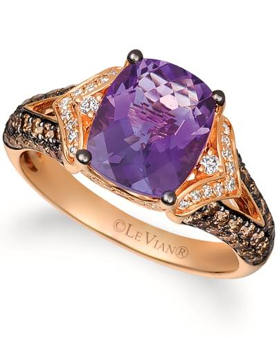 14K Strawberry Gold® Grape Amethyst™ 2  1/3 cts. Ring with Chocolate Diamonds® 5/8 cts., Vanilla Diamonds® 1/6 cts. | YQPR 55
