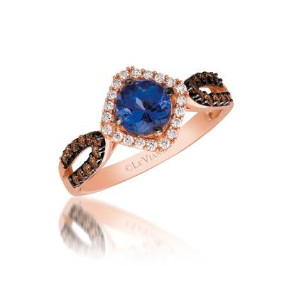 14K Strawberry Gold® Blueberry Tanzanite® 5/8 cts. Ring with Chocolate Diamonds® 1/5 cts., Vanilla Diamonds® 1/8 cts. | YQQL 7