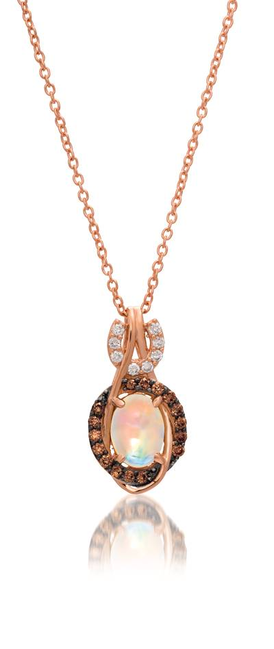 14K Strawberry Gold® Neopolitan Opal™ 3/8 cts. Pendant with Chocolate Diamonds® 1/8 cts., Vanilla Diamonds® 1/20 cts. | YQQM 2
