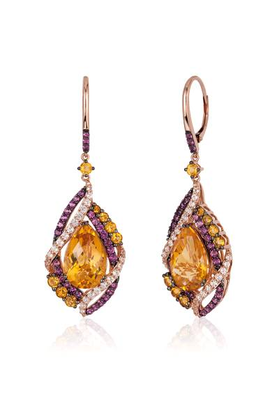 14K Strawberry Gold® Cinnamon Citrine® 10 3/4 cts., Vanilla Topaz™ 1 cts., Raspberry Rhodolite® 1  3/8 cts. Earrings | YQQO 14