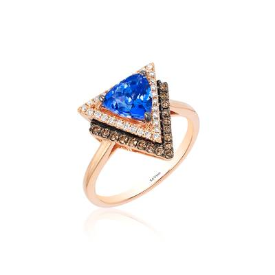 14K Strawberry Gold® Blueberry Tanzanite® 1 cts. Ring with Chocolate Diamonds® 1/6 cts., Vanilla Diamonds® 1/6 cts. | YQQO 42