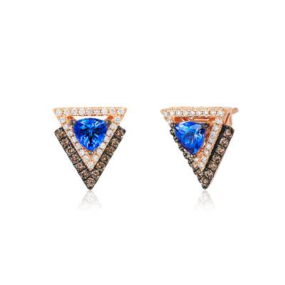 14K Strawberry Gold® Blueberry Tanzanite® 7/8 cts. Earrings with Chocolate Diamonds® 1/4 cts., Vanilla Diamonds® 1/4 cts. | YQQO 43