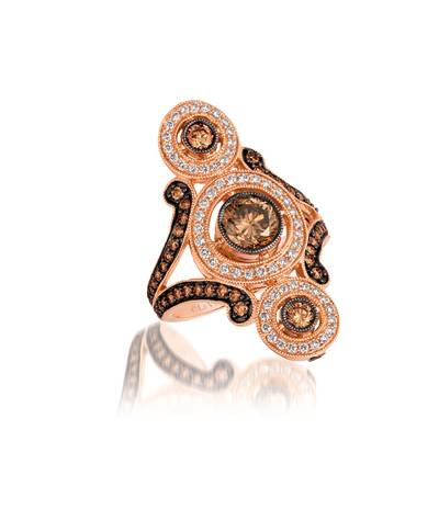 14K Strawberry Gold® Ring with Chocolate Diamonds® 1  1/2 cts., Vanilla Diamonds® 3/8 cts. | YQQP 72