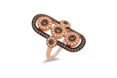 14K Strawberry Gold® Ring with Chocolate Diamonds® 5/8 cts., Vanilla Diamonds® 1/3 cts. | YQQP 74