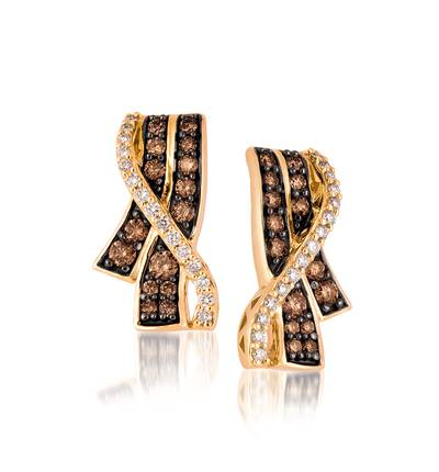 14K Honey Gold™ Earrings with Chocolate Diamonds® 1/2 cts., Vanilla Diamonds® 1/5 cts. | YQQS 11A