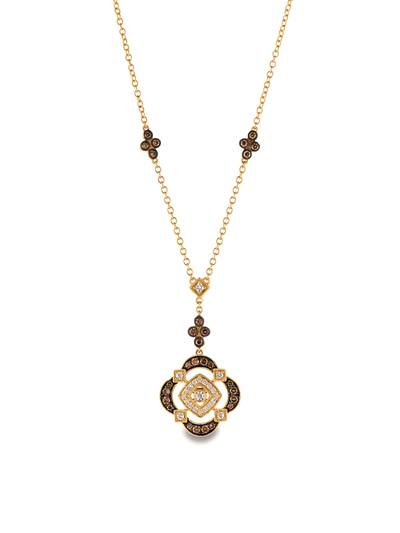 14K Honey Gold™ Necklace with Vanilla Diamonds® 1/4 cts., Chocolate Diamonds® 1/2 cts. | YQQS 80