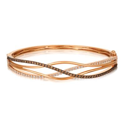 14K Strawberry Gold® Bangle with Chocolate Diamonds® 3/4 cts., Vanilla Diamonds® 5/8 cts. | YQQT 8