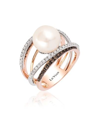 14K Tri Color Gold Vanilla Pearls™  cts. Ring with Chocolate Diamonds® 3/8 cts., Vanilla Diamonds® 1/3 cts. | YQQZ 32