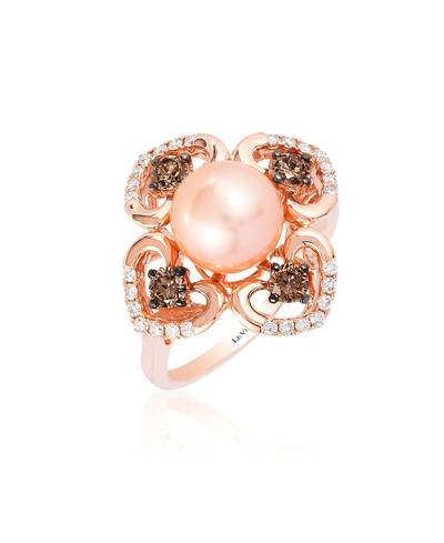 14K Strawberry Gold® Strawberry Pearls®  cts. Ring with Chocolate Diamonds® 3/8 cts., Vanilla Diamonds® 1/5 cts. | YQQZ 36