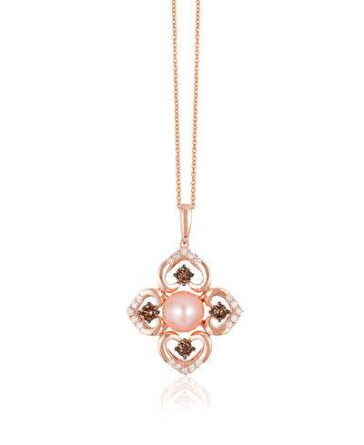 14K Strawberry Gold® Strawberry Pearls®  cts. Pendant with Chocolate Diamonds® 1/2 cts., Vanilla Diamonds® 1/4 cts. | YQQZ 37