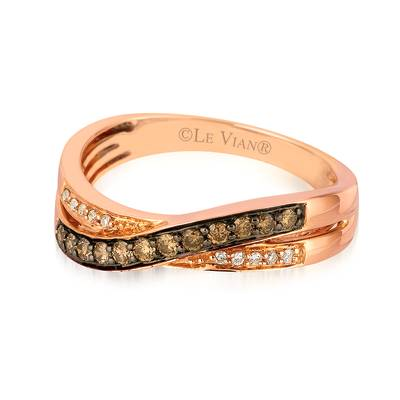 14K Strawberry Gold® Ring with Chocolate Diamonds® 1/5 cts., Vanilla Diamonds® 1/20 cts. | YQRC 8