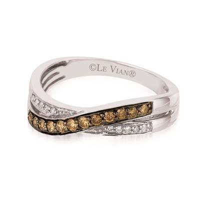 14K Vanilla Gold® Ring with Chocolate Diamonds® 1/5 cts., Vanilla Diamonds® 1/20 cts. | YQRC 9