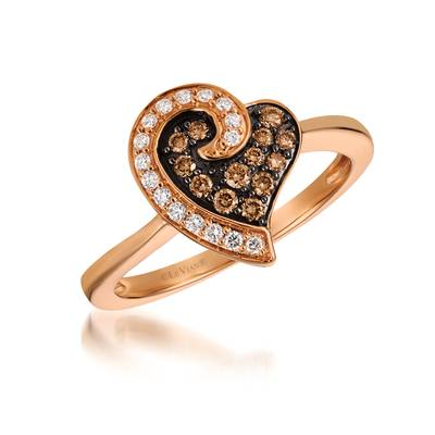 14K Strawberry Gold® Ring with Chocolate Diamonds® 1/6 cts., Vanilla Diamonds® 1/10 cts. | YQRI 28