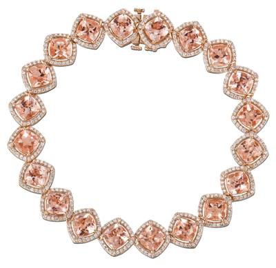 14K Strawberry Gold® Peach Morganite™ 13 3/4 cts. Bracelet with Vanilla Diamonds® 1  7/8 cts. | YQRJ 51