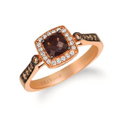 14K Strawberry Gold® Chocolate Quartz® 1/2 cts. Ring | YQRS 44