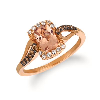14K Strawberry Gold® Peach Morganite™ 5/8 cts. Ring with Vanilla Diamonds® 1/10 cts., Chocolate Diamonds® 1/8 cts. | YQSA 19