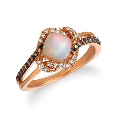 14K Strawberry Gold® Neopolitan Opal™ 1/3 cts. Ring with Chocolate Diamonds® 1/8 cts., Vanilla Diamonds® 1/8 cts. | YQSA 21