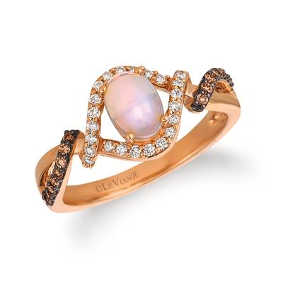 14K Strawberry Gold® Neopolitan Opal™ 3/8 cts. Ring with Chocolate Diamonds® 1/8 cts., Vanilla Diamonds® 1/6 cts. | YQSA 22