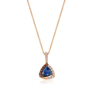 14K Strawberry Gold® Blueberry Tanzanite® 5/8 cts. Pendant with Vanilla Diamonds® 1/6 cts., Chocolate Diamonds® 1/10 cts. | YQSC 15