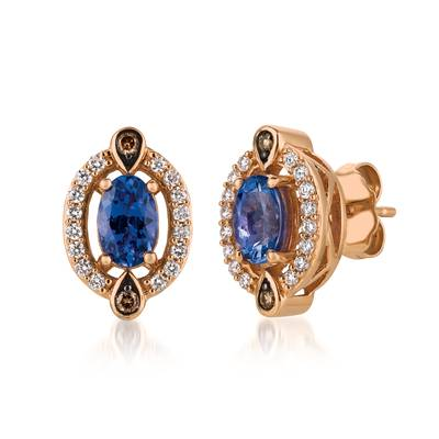 14K Strawberry Gold® Blueberry Tanzanite® 3/4 cts. Earrings with Chocolate Diamonds® 1/20 cts., Vanilla Diamonds® 1/5 cts. | YQSC 5