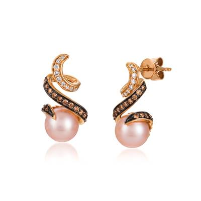 14K Strawberry Gold® Strawberry Pearls®  cts. Earrings with Vanilla Diamonds® 1/10 cts., Chocolate Diamonds® 1/5 cts. | YQSF 40