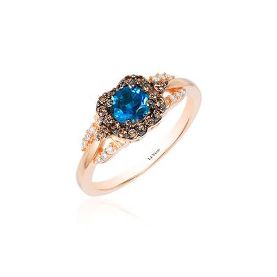 14K Strawberry Gold® Deep Sea Blue Topaz™ 1/2 cts. Ring with Chocolate Diamonds® 1/5 cts., Vanilla Diamonds® 1/20 cts. | YQSH 17