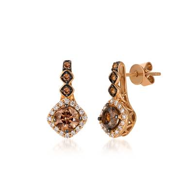 14K Strawberry Gold® Earrings with Chocolate Diamonds® 1 cts., Vanilla Diamonds® 1/5 cts. | YQSL 18