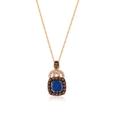 14K Strawberry Gold® Blueberry Tanzanite® 5/8 cts. Pendant with Chocolate Diamonds® 1/4 cts., Vanilla Diamonds® 1/20 cts. | YQSL 37
