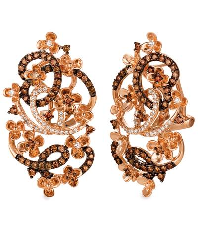 14K Strawberry Gold® Earrings with Chocolate Diamonds® 1 cts., Vanilla Diamonds® 1/4 cts. | YQSM 17