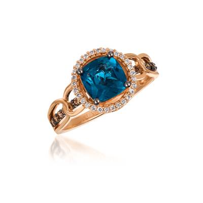 14K Strawberry Gold® Deep Sea Blue Topaz™ 1  1/2 cts. Ring with Chocolate Diamonds® 1/8 cts., Vanilla Diamonds® 1/10 cts. | YQST 18