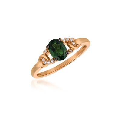 14K Strawberry Gold® Pistachio Diopside® 5/8 cts. Ring with Vanilla Diamonds® 1/20 cts. | YQST 27