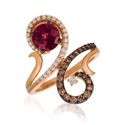 14K Strawberry Gold® Raspberry Rhodolite® 1  1/5 cts. Ring with Vanilla Diamonds® 1/5 cts., Chocolate Diamonds® 1/3 cts. | YQST 60