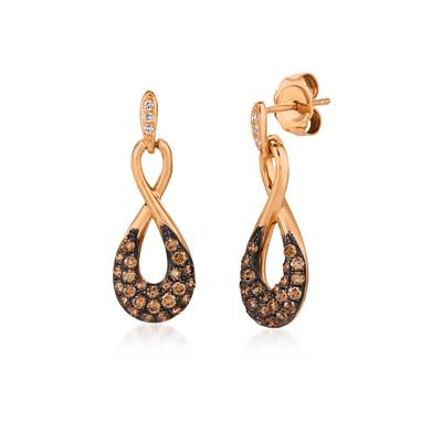 14K Strawberry Gold® Earrings with Chocolate Diamonds® 5/8 cts., Vanilla Diamonds®  cts. | YQST 78