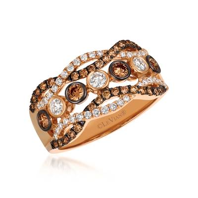 14K Strawberry Gold® Ring with Chocolate Diamonds® 1/2 cts., Vanilla Diamonds® 3/8 cts. | YQSX 69