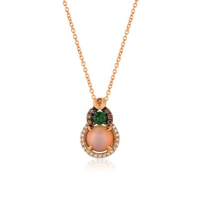 14K Strawberry Gold® Neopolitan Opal™ 3/4 cts., Pistachio Diopside® 1/5 cts. Pendant with Chocolate Diamonds® 1/20 cts., Vanilla Diamonds® 1/10 cts. | YQTI 5