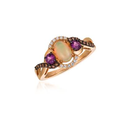 14K Strawberry Gold® Neopolitan Opal™ 3/8 cts., Raspberry Rhodolite® 1/3 cts. Ring with Chocolate Diamonds® 1/8 cts., Vanilla Diamonds® 1/20 cts. | YQTI 69
