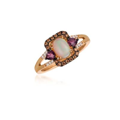 14K Strawberry Gold® Neopolitan Opal™ 1/2 cts., Raspberry Rhodolite® 1/3 cts. Ring with Chocolate Diamonds® 1/8 cts., Vanilla Diamonds® 1/20 cts. | YQTI 78