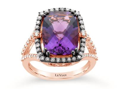 14K Strawberry Gold® Grape Amethyst™ 5  1/5 cts. Ring with Chocolate Diamonds® 1/3 cts., Vanilla Diamonds® 1/3 cts. | YQTJ 41