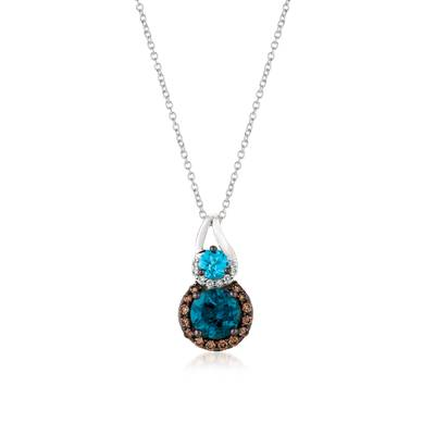14K Vanilla Gold® Deep Sea Blue Topaz™ 1  1/2 cts., Blue Topaz 1/3 cts. Pendant with Chocolate Diamonds® 1/5 cts., Vanilla Diamonds®  cts. | YQTN 22