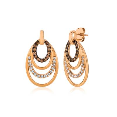 14K Strawberry Gold® Earrings with Chocolate Diamonds® 1/3 cts., Vanilla Diamonds® 3/8 cts. | YQTO 105